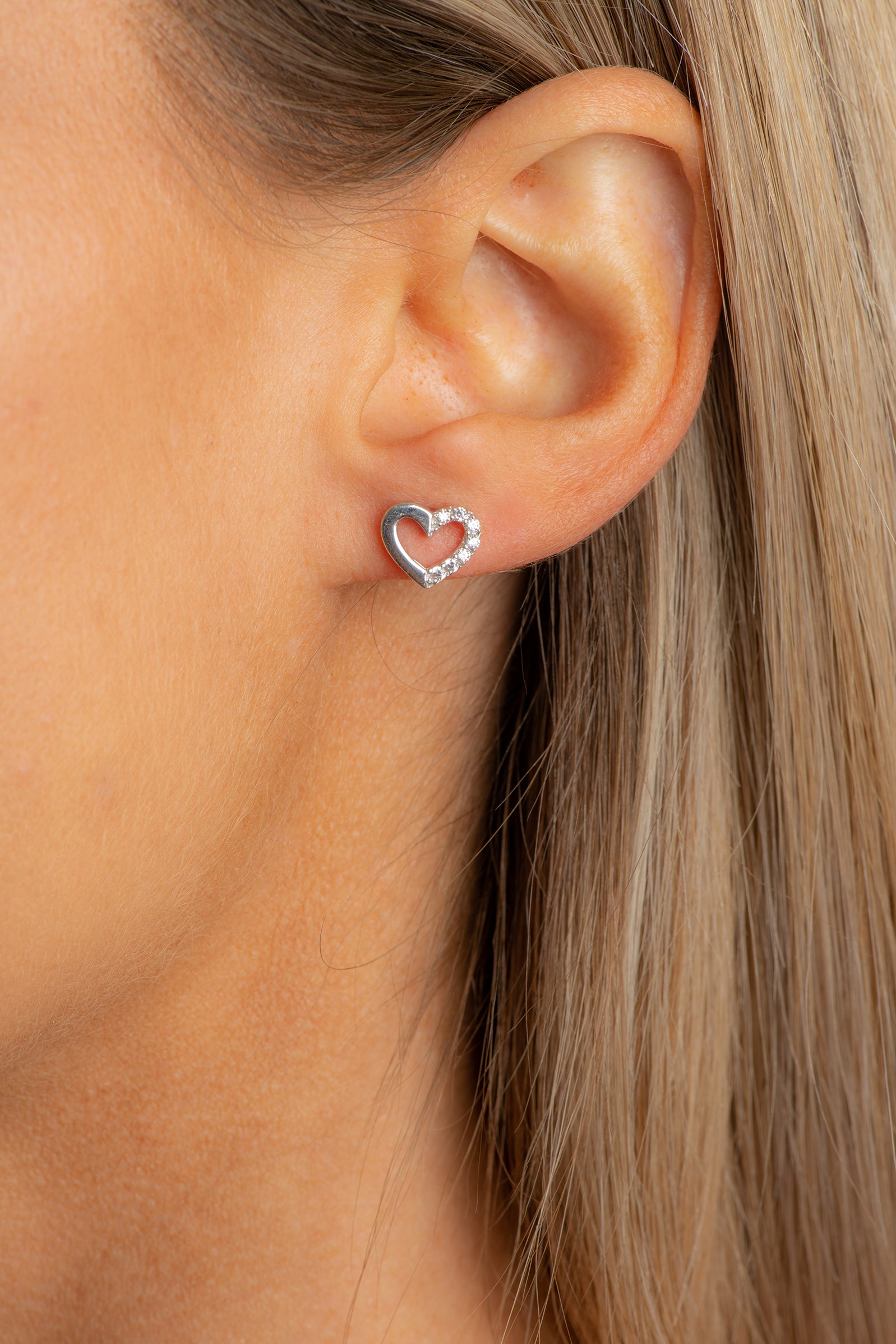 Sterling silver hearts studs