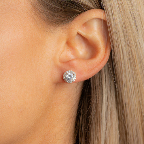 Halo silver studs.