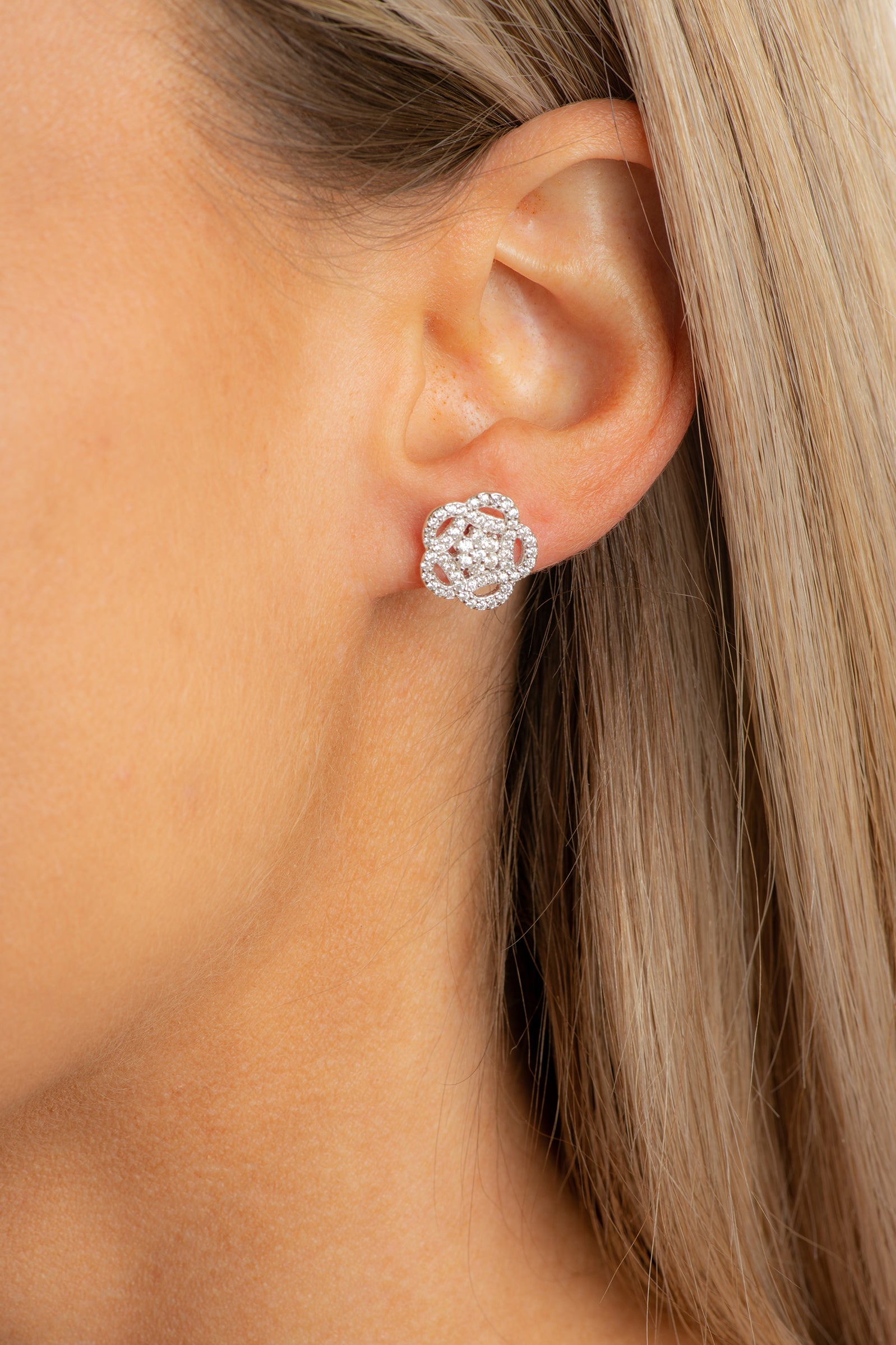 Sterling silver micropave flower studs