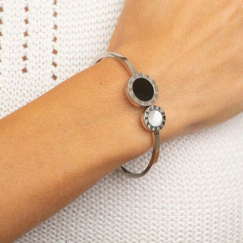 2 circle MOP Stainless steel Bangle.