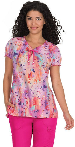 koi Prints Women's Bridgette V-Neck Embroidered Floral Print Scrub Top
