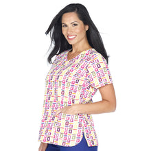 Bio Women's Wrap Front Abstract Art Scrub Print Top (Pop Art Purple)