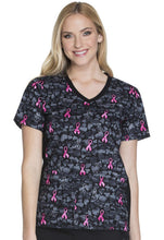 Cherokee V-Neck Breast Cancer Awareness Scrub Print (Guard My Heart)