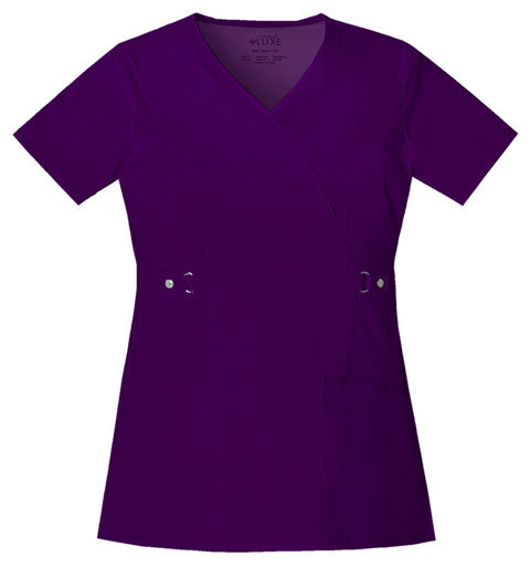 Cherokee Luxe Women's Mock Wrap Top ( Egg Plant )