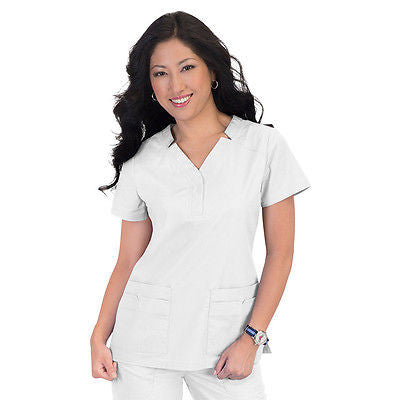KOI Erin Scrub Top (White)