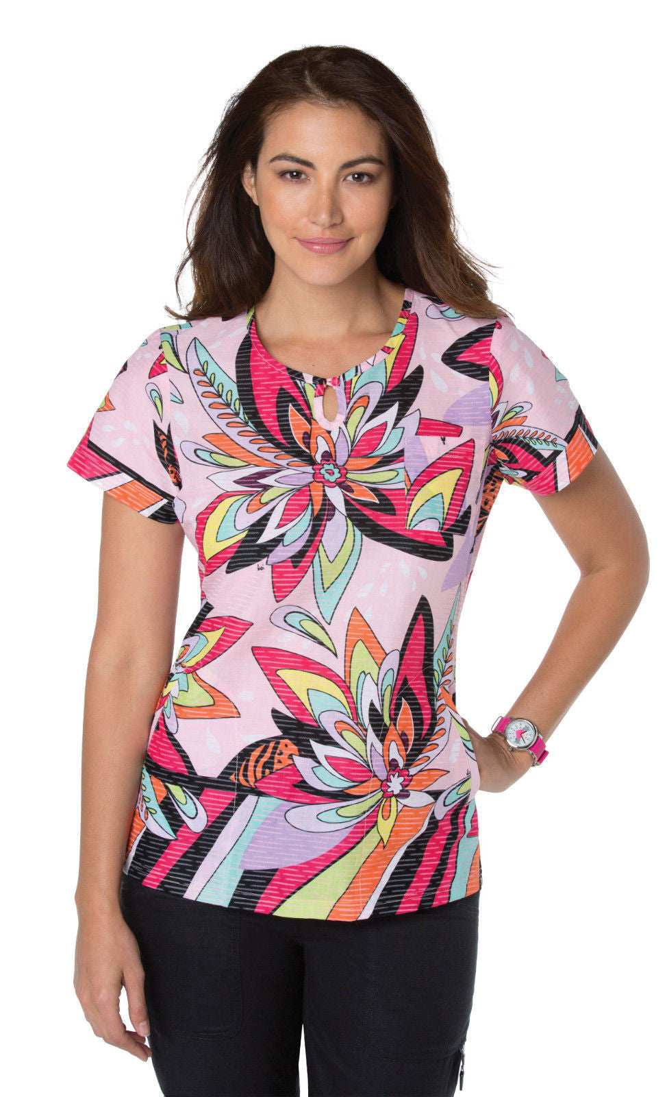 KOI Carly Scrub Top (Water Drop Floral)