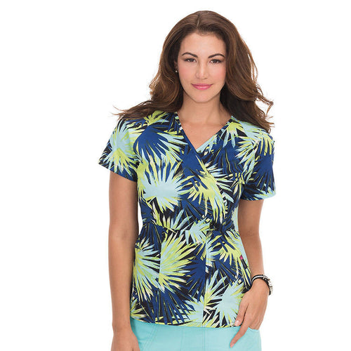 KOI Joelle Mock Wrap Scrub Top (Palm Burst)