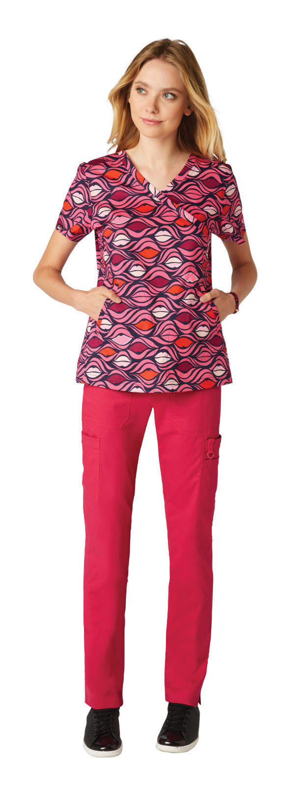 Koi Elevate Scrub Top (Painted Lips)