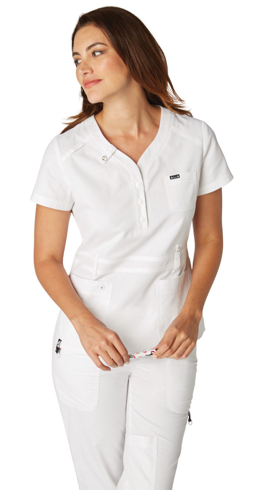 Koi Kendall Scrub Top (White)