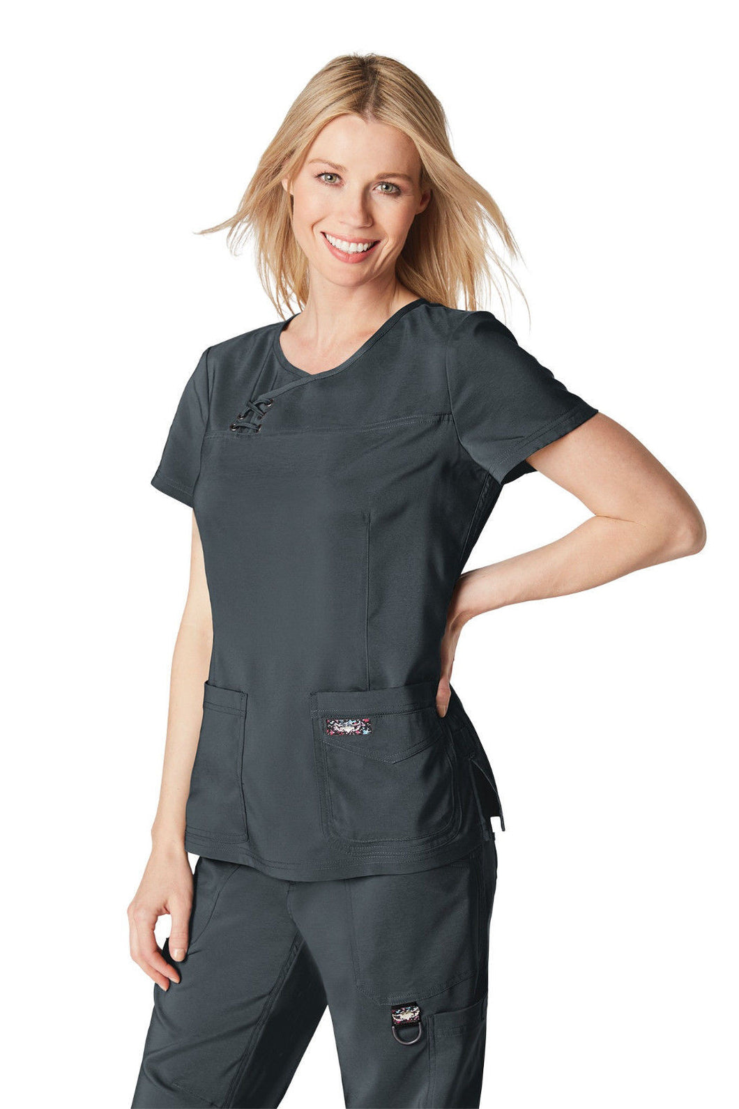 Koi Tech Serena Scrub Top (Charcoal)