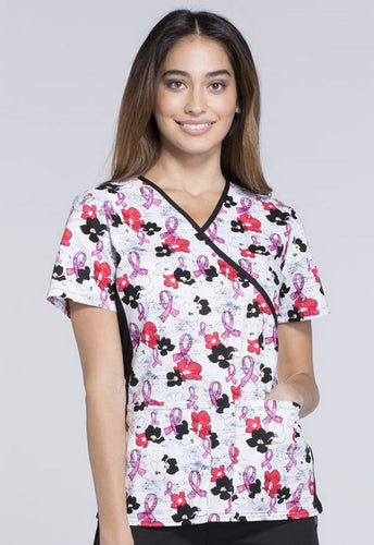 Flexibles by Cherokee Women's Mock Wrap Breast Cancer Awareness Print Scrub Top