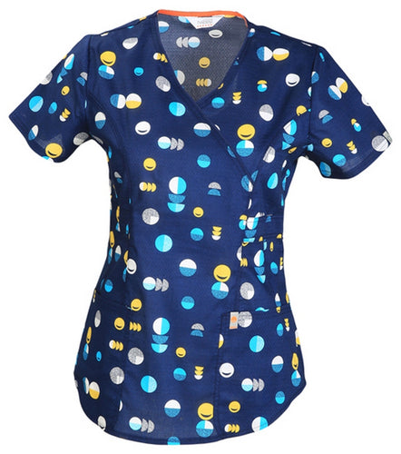 Code Happy Scrub Print Top ( Love Dot Smile )