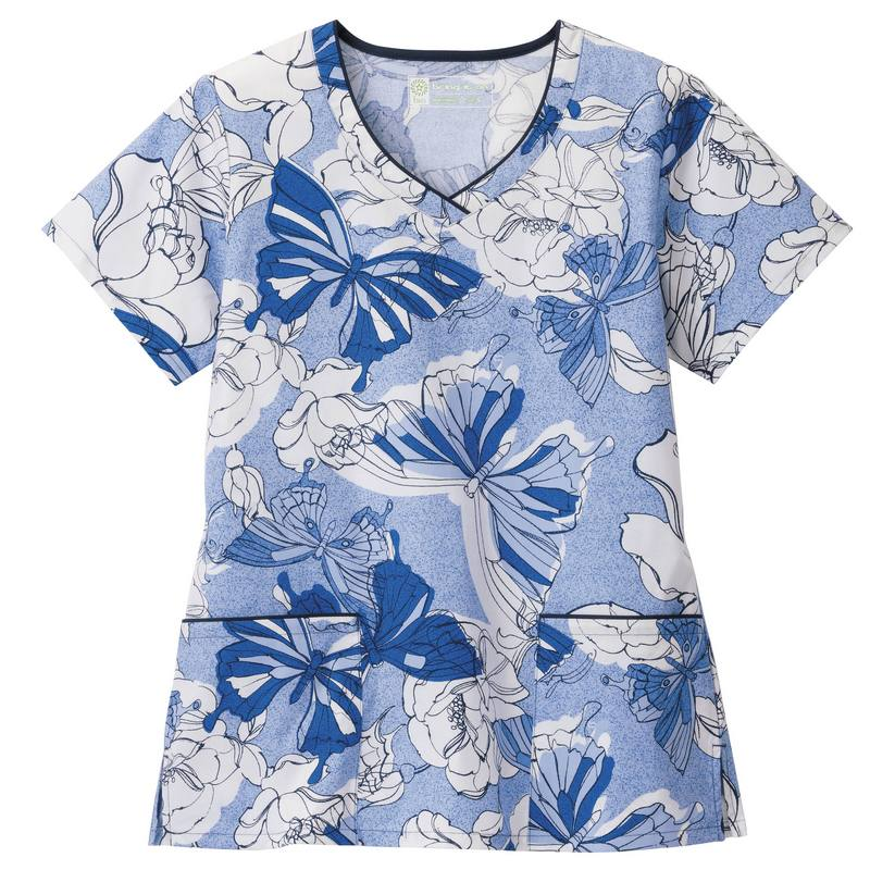 Bio Women's V-Neck Butterfly Scrub Print Top (Beginnings)