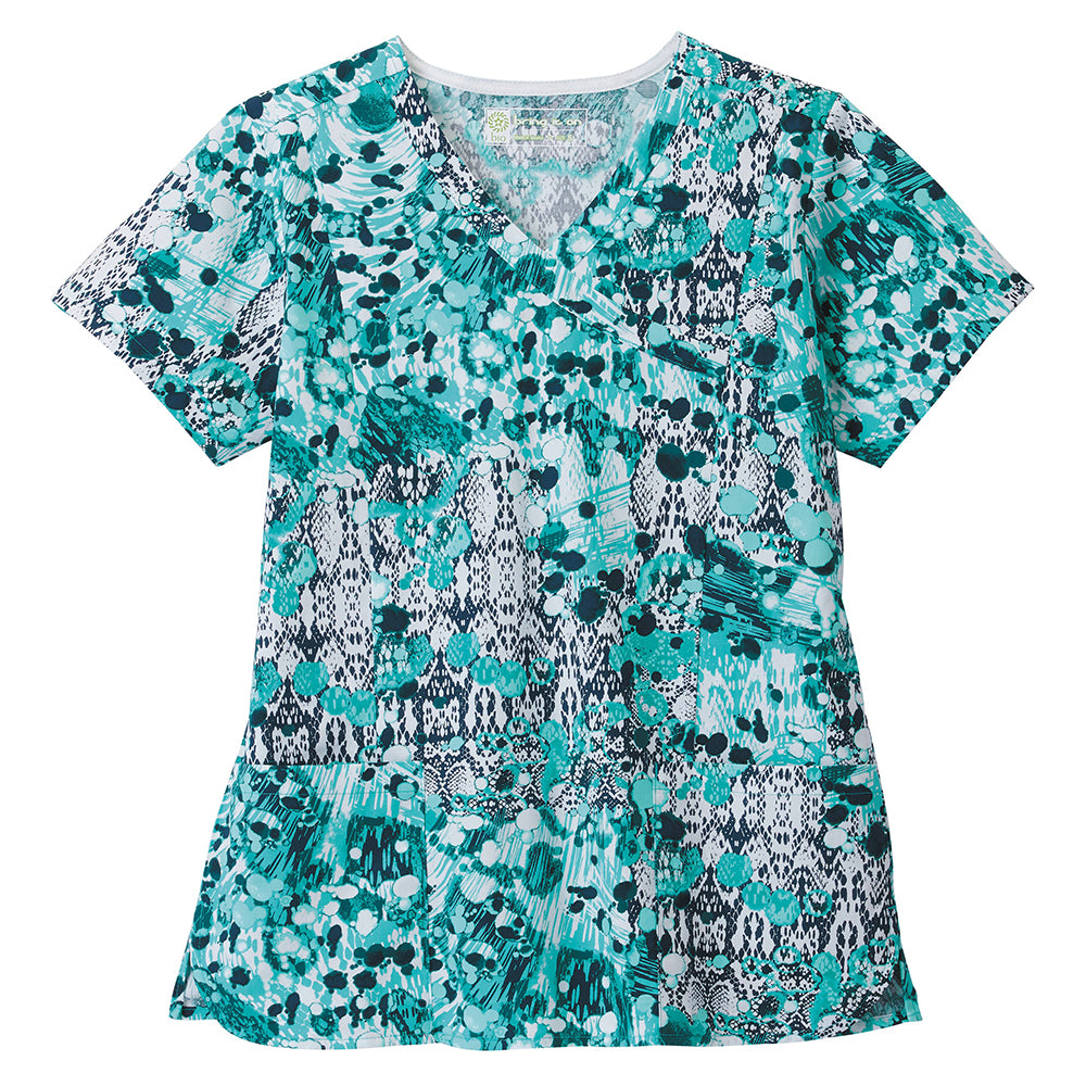 Bio Women's Mock Wrap Abstract Print Top