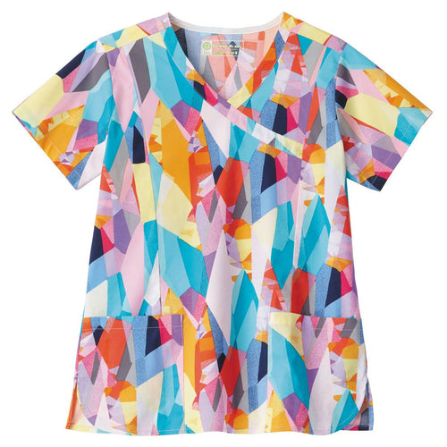 Bio Women's Mock Wrap Abstract Print Scrub Top (Crystal Prisms)