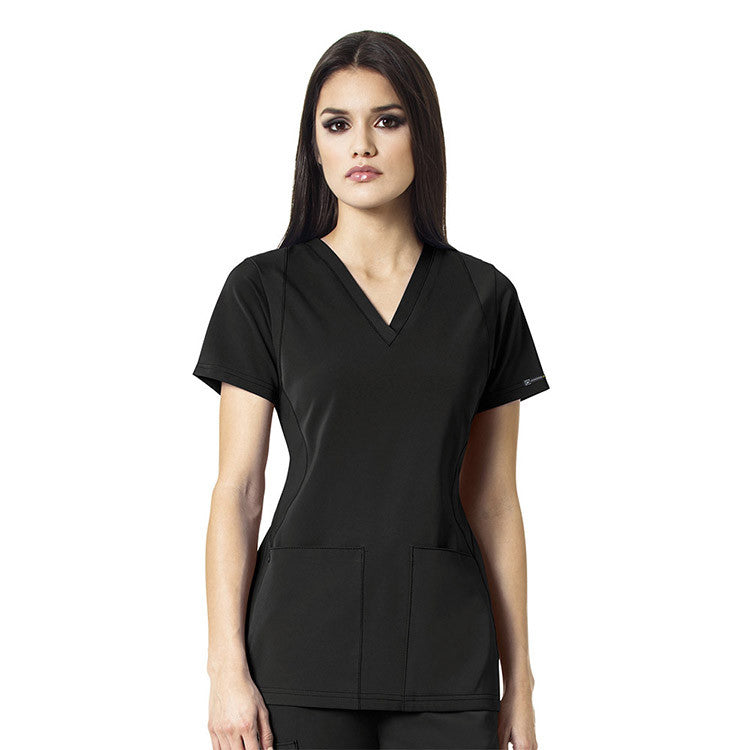 WonderWink V-Neck Scrub Top (Black)