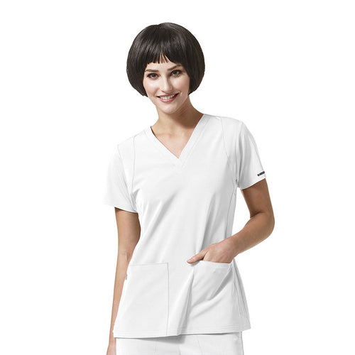 WonderWink V-Neck Scrub Top (White)