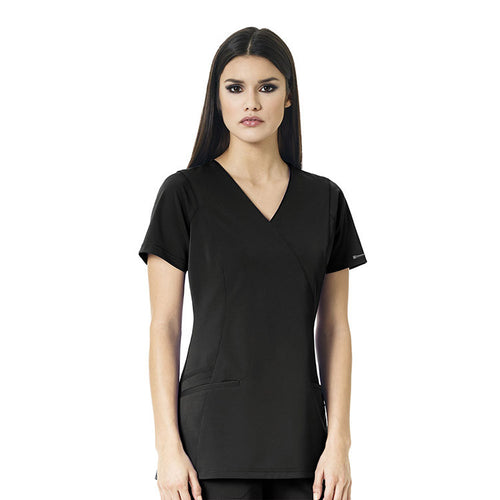 WonderWink Axis Mock Wrap Top (Black)