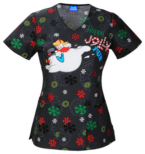 Cherokee Frosty The Snowman Scrub Print Top (Frosty Fun)