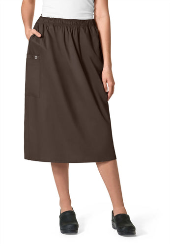 WonderWink Women's Elastic Waist Cargo Scrub Skirt (Chocolate)