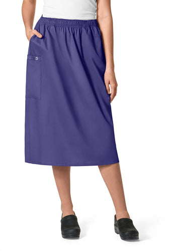 WonderWink Women's Elastic Waist Cargo Scrub Skirt (Grape)