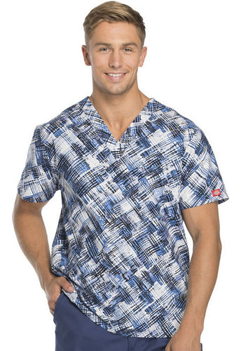 Dickies Unisex V-Neck (Breaking Plaid Royal) Scrub Top