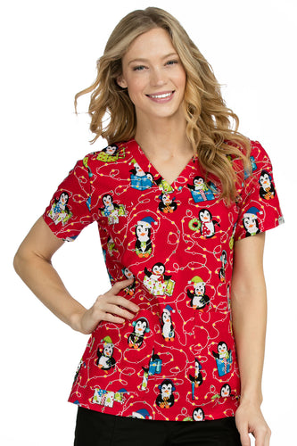 Med Couture Women's Christmas Print Top ( Penguins )