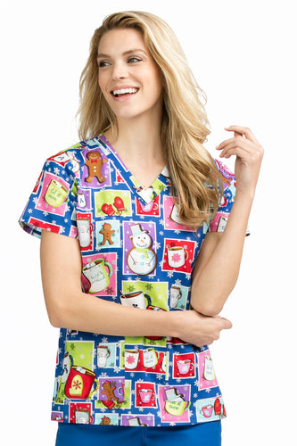Med Couture Women's Christmas Print Top (  Giger Bread Man )