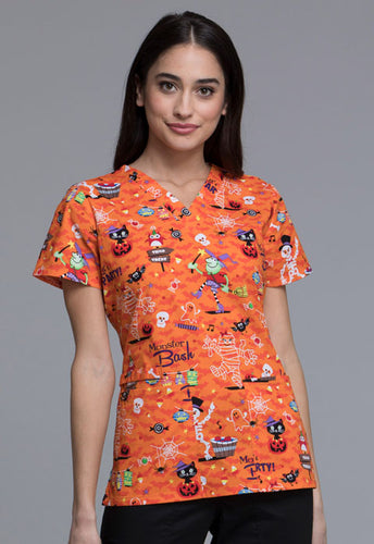 Cherokee Women's Halloween Print Top (Party Monster)