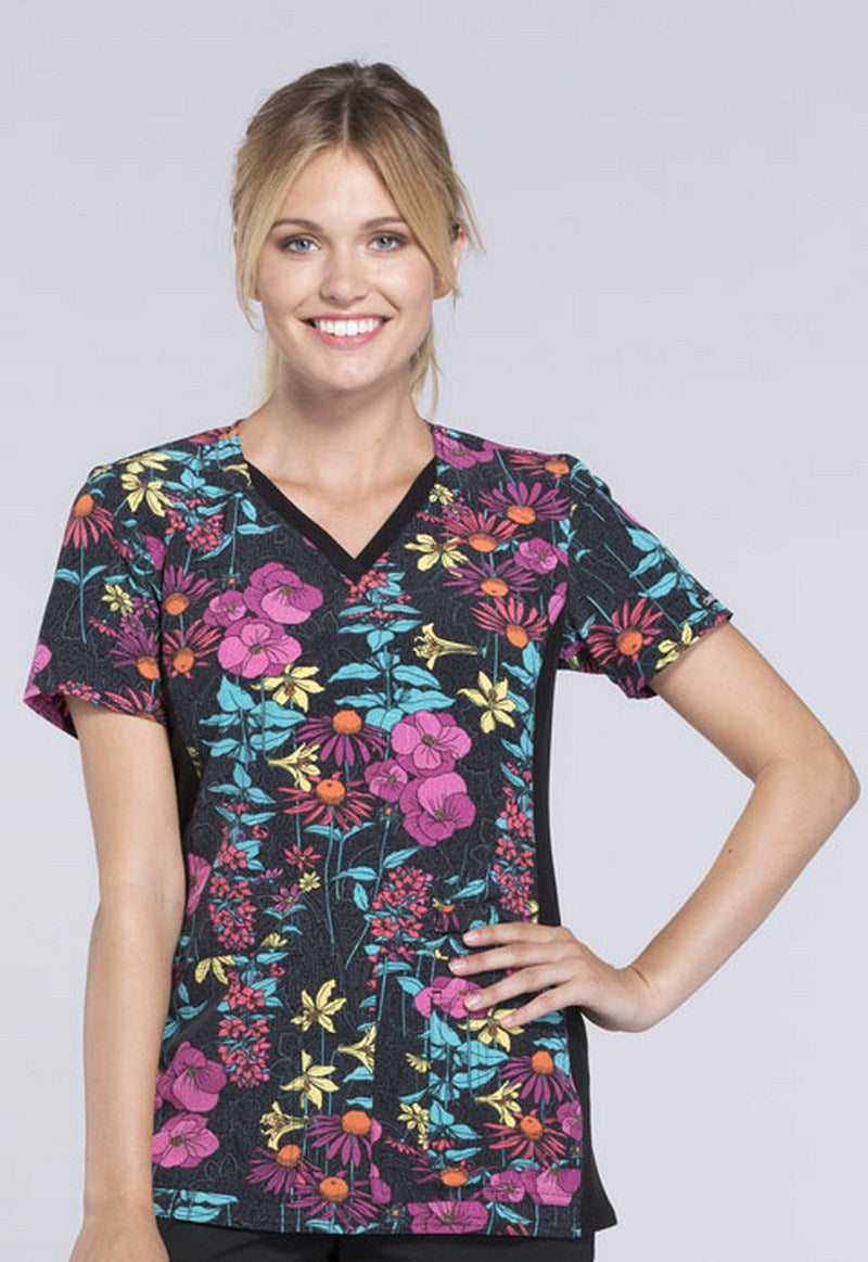 Cherokee Women's V-Neck Contrast Panel Floral Print Scrub Top