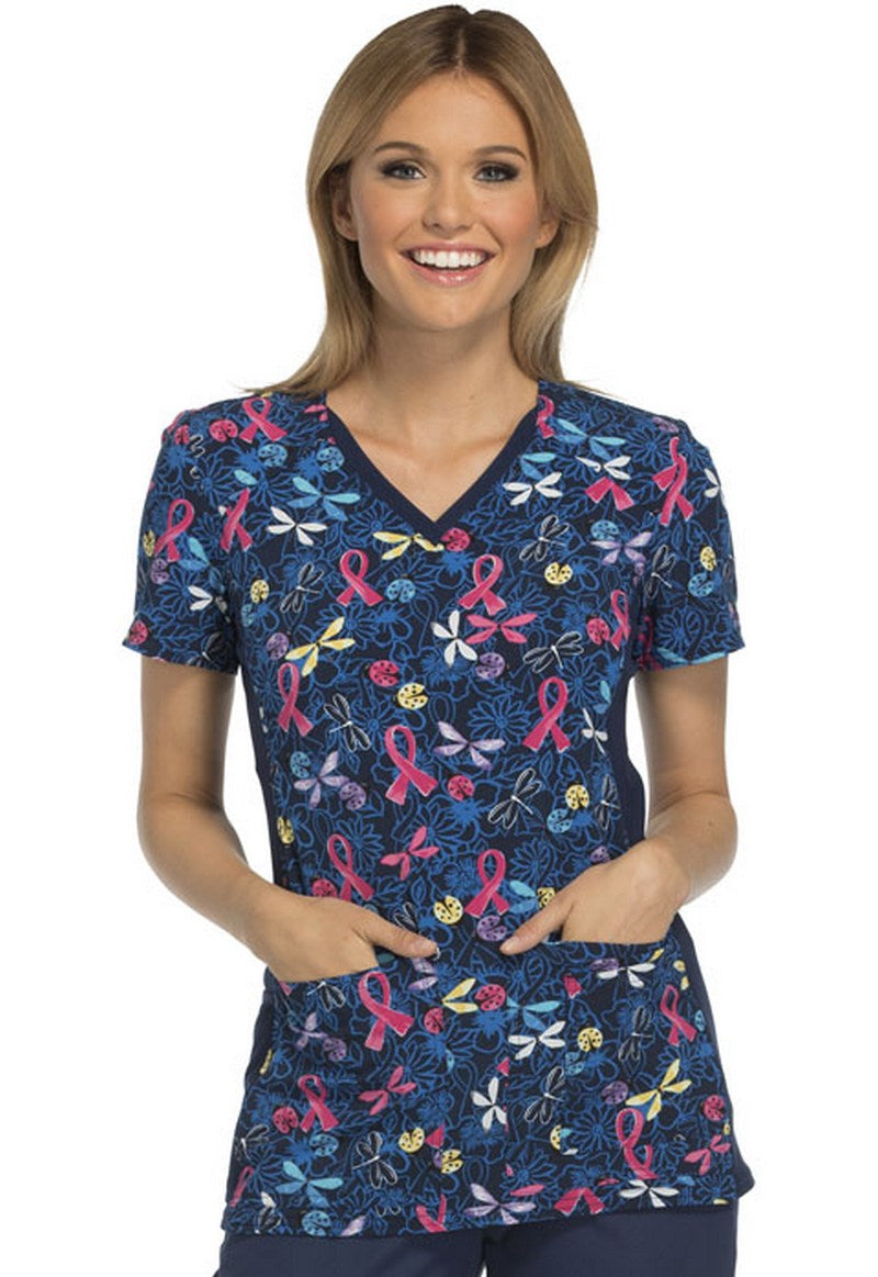 Cherokee Women's V-Neck Contrast Panel Breast Cancer Print Scrub Top