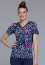 Cherokee Women's V-Neck Contrast Panel Pasley Print Scrub Top