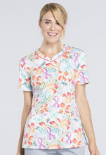 Cherokee Women's V-Neck Breast Cancer Awareness Floral Print Scrub Top