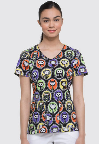 Dickies Halloween Women's V-Neck Print Top ( Dia De Los Gatos)