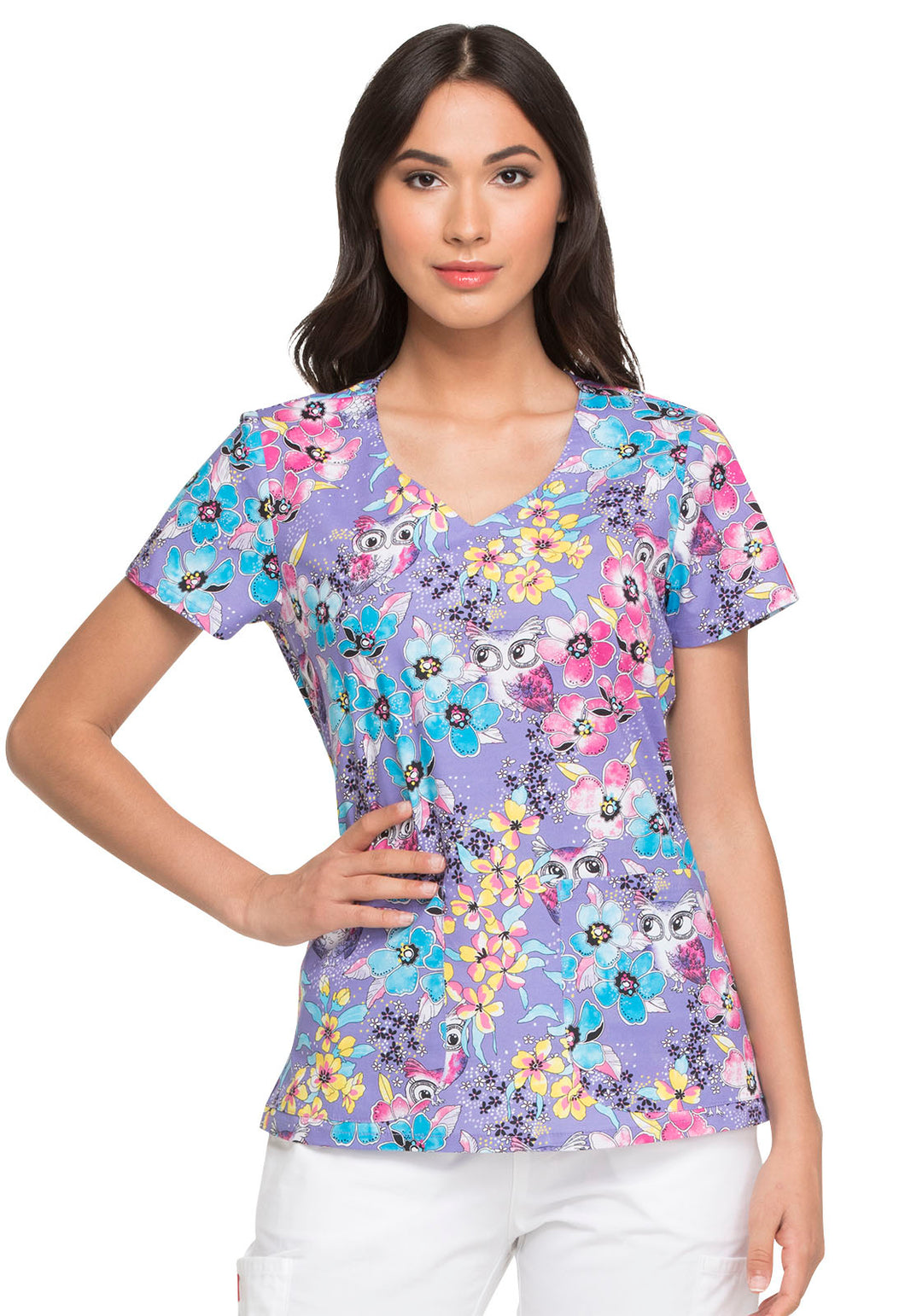 Dickies Scrub Prints V-Neck Top (Owl See You Soon)