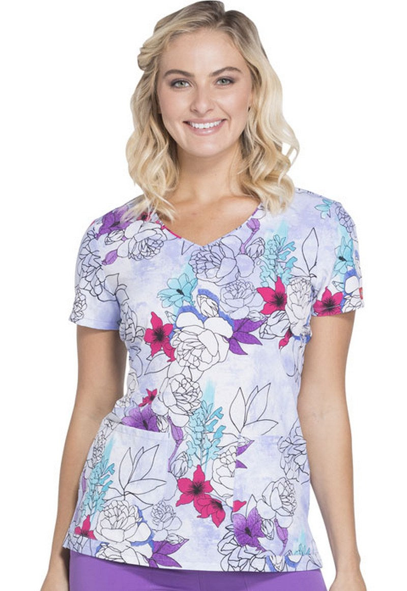 Dickies Xtreme Stretch Scrub Print Tops (Island Orchid)