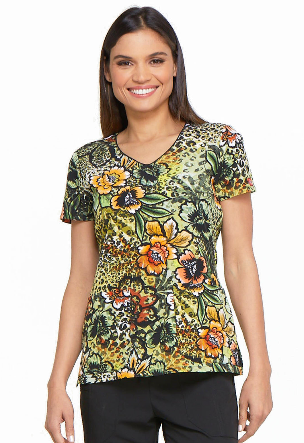 Dickies Stretch Scrubs V Neck Top (Prowling Petals)