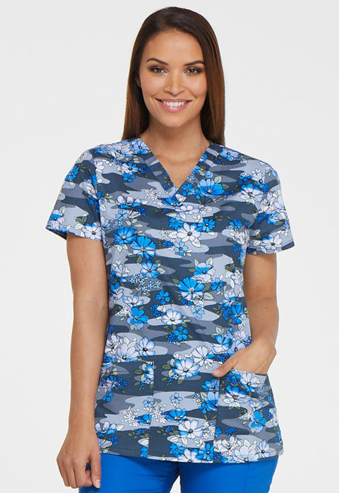 Dickies Women's Two Pocket Froral Print Scrub Top (Floral Fleet)