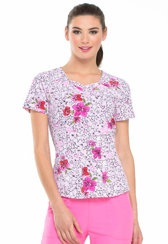HeartSoul Prints Sweetheart Neck Scrub Top (Reaching For The Stars)