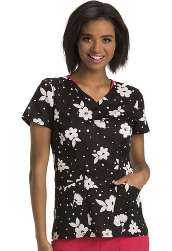 Heartsoul Tropical Print Scrub Top ( Belle Fleurs)