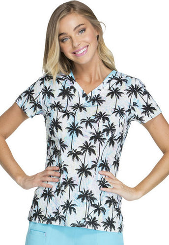 Heartsoul Tropical Print Scrub Top (Ocean Air Salty)