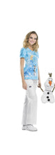 Disney Women's V-Neck Frozen Print Scrub Top (Ice Queen)