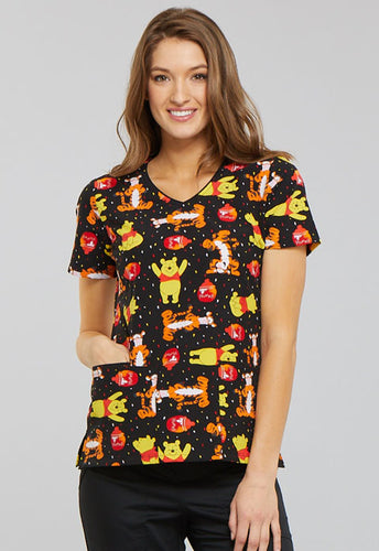 a6c01f19120 Disney Alice in Winnie the Pooh Print Scrub Top (A Bear Likes Honey)