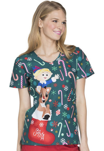 Disney Christmas Women's V-Neck (Rudolph Candyland)