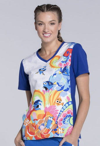 Tooniforms Women's V-Neck (Finding Nemo) Scrub top