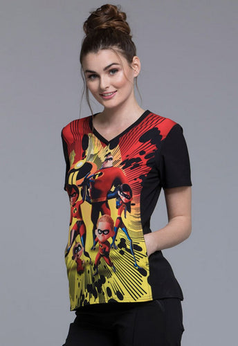 Tooniforms Women's V-Neck (The Incredibles) Scrub top