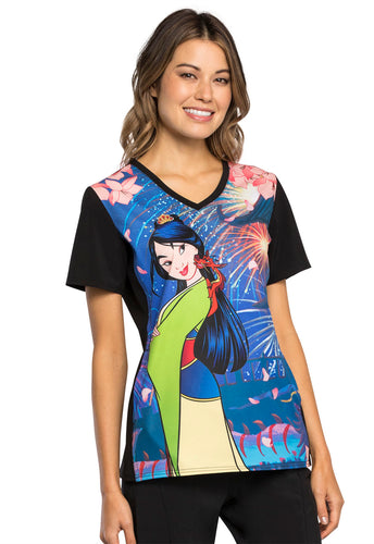 Mulan Disney Princess by Cherokee V-Neck Printed Scrub Top