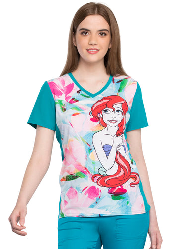 Disney Little Mermaid Scrub Top by Cherokee (Ariel Splash)