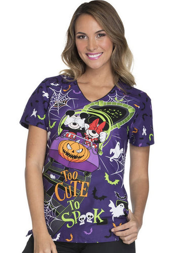 Disney Women's Halloween Print Top ( Too Cute To Spook )