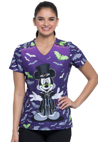 Disney Mickey Halloween by Cherokee V-Neck Scrub Top (Vamp)